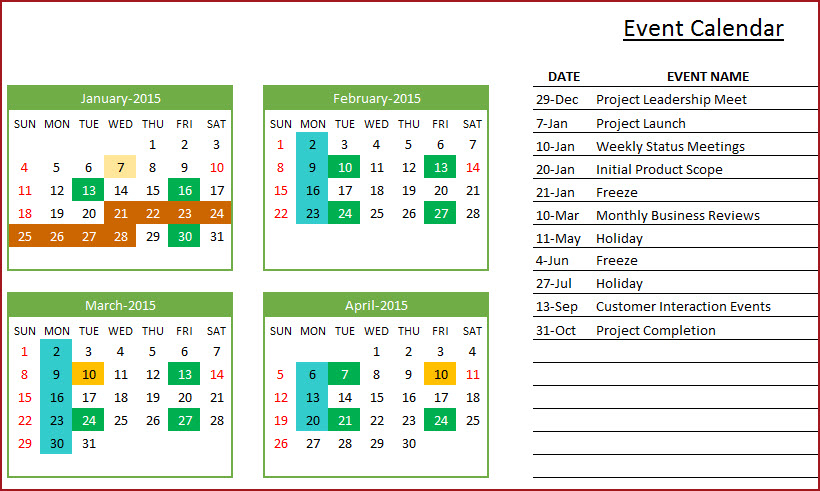 Indzara: February 2014 for Yearly Event Calendar Template Excel