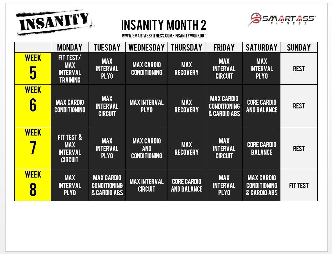 Insanity Calendar Month 1 • Printable Blank Calendar Template intended for Printable Insanity Max 30 Calendar