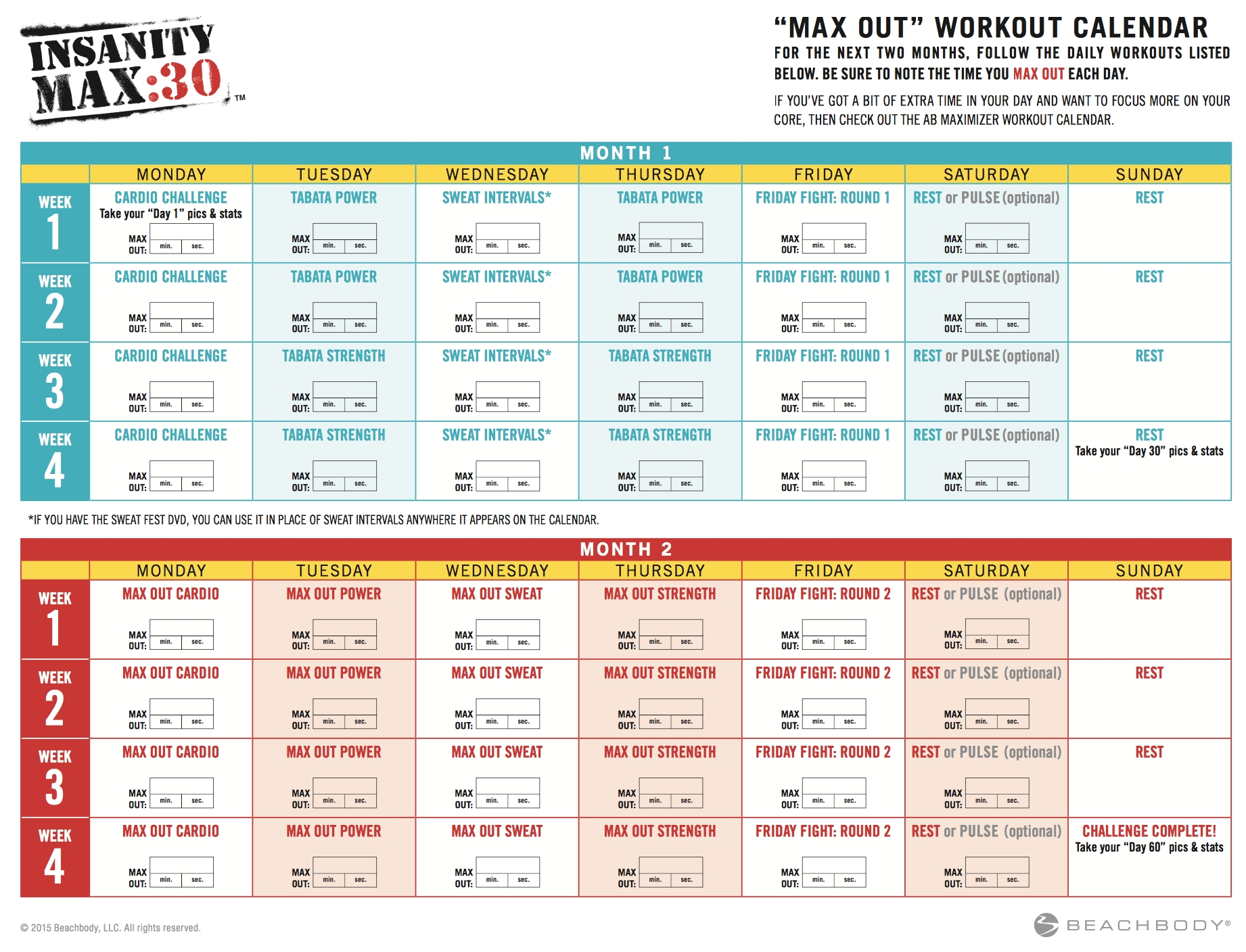 Insanity Max 30 Calendar Month 2  Calendar Inspiration Design intended for Insanity Max 30 Meal Plan