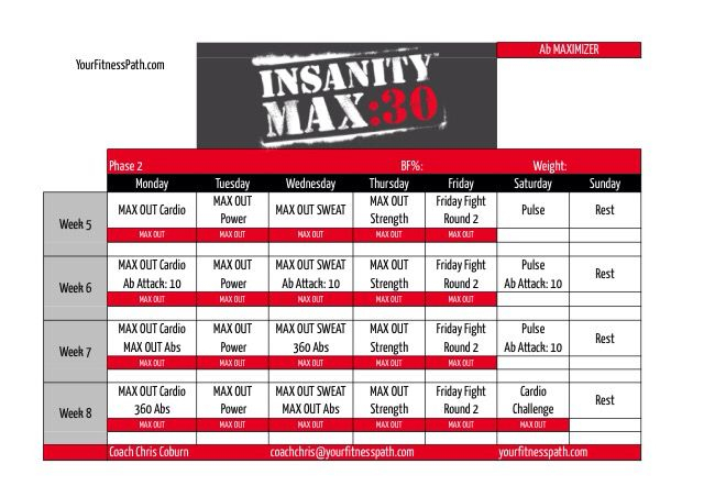 Insanity Max 30 | Insanity Max 30 | Insanity Max 30 for Insanity Max Calendar Pdf