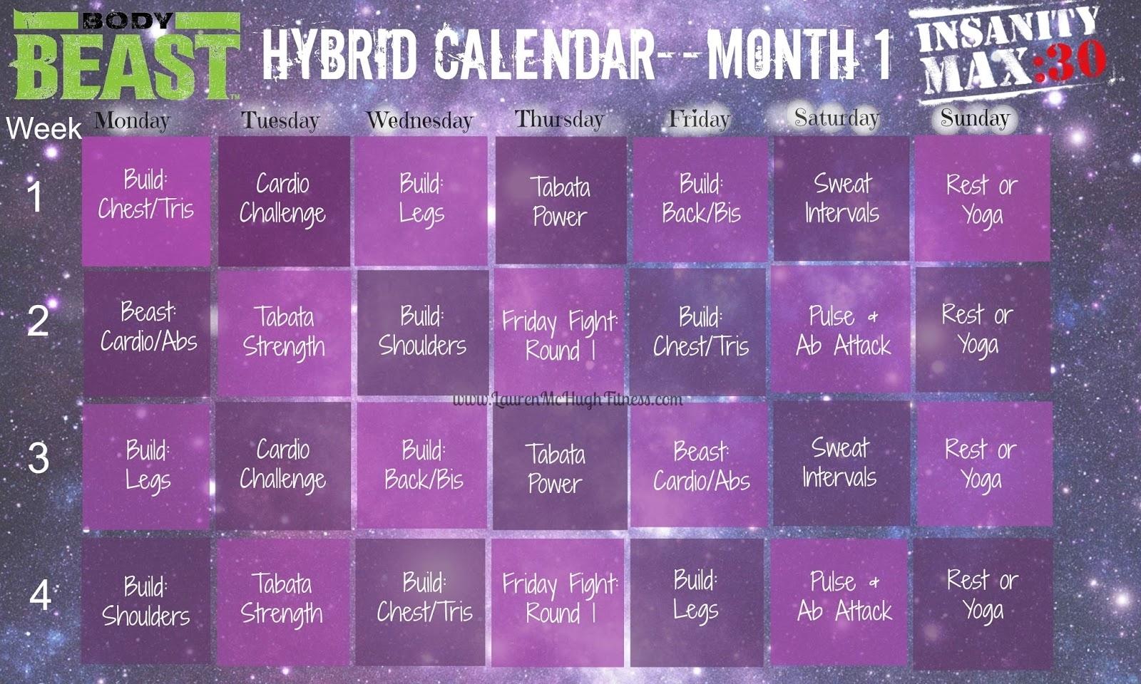 Insanity Max 30Piyo Hybrid Calendar  Calendar pertaining to Calendar Insanity Max 30