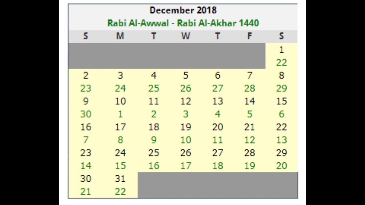 Islamic Calandar Dates December2018  Youtube Catch with Islamic Calendar Date Today In Pakistan