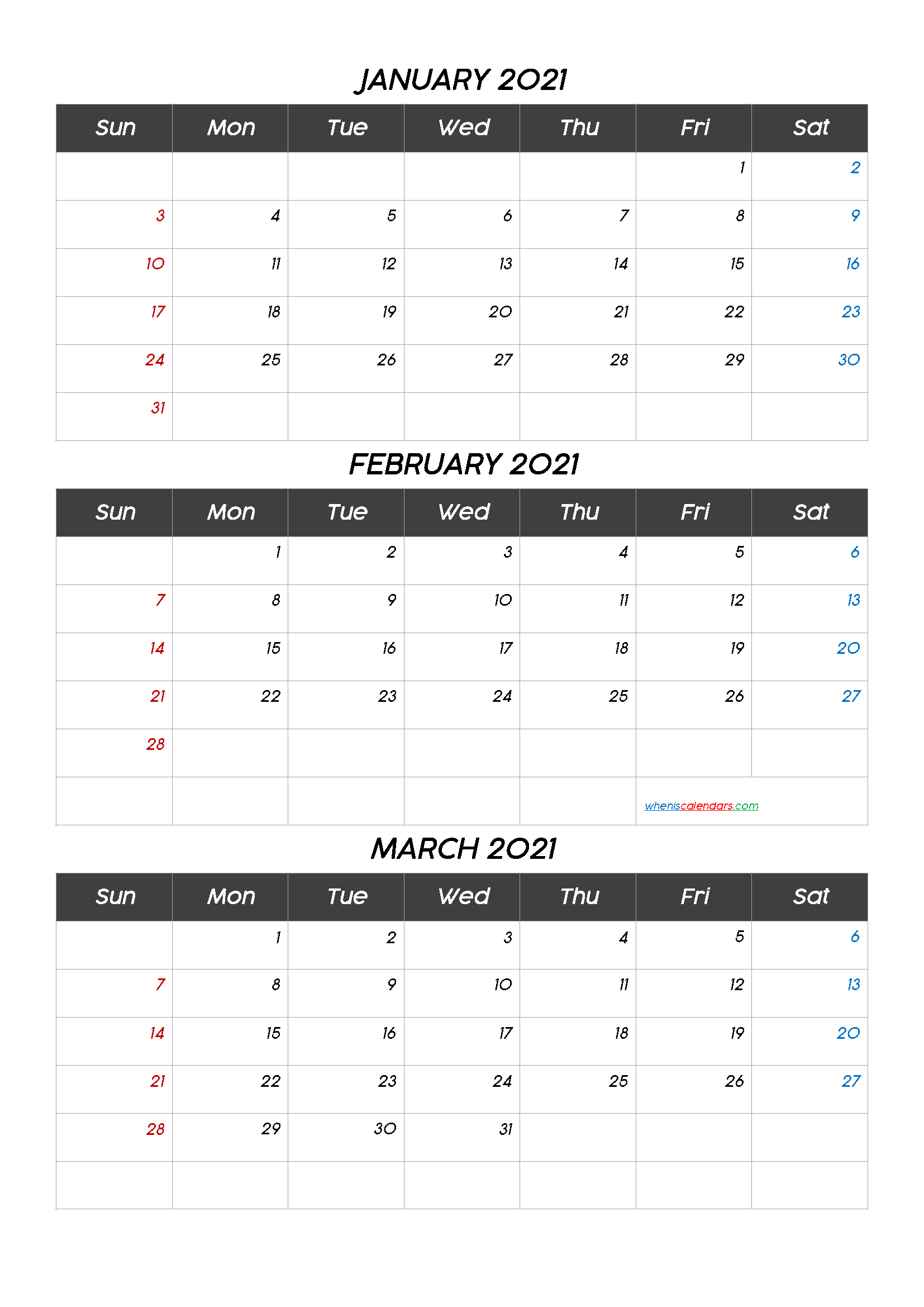 January February March 2021 Calendar Printabletemplate within 2021 3 Month Monthly Printable Calendars