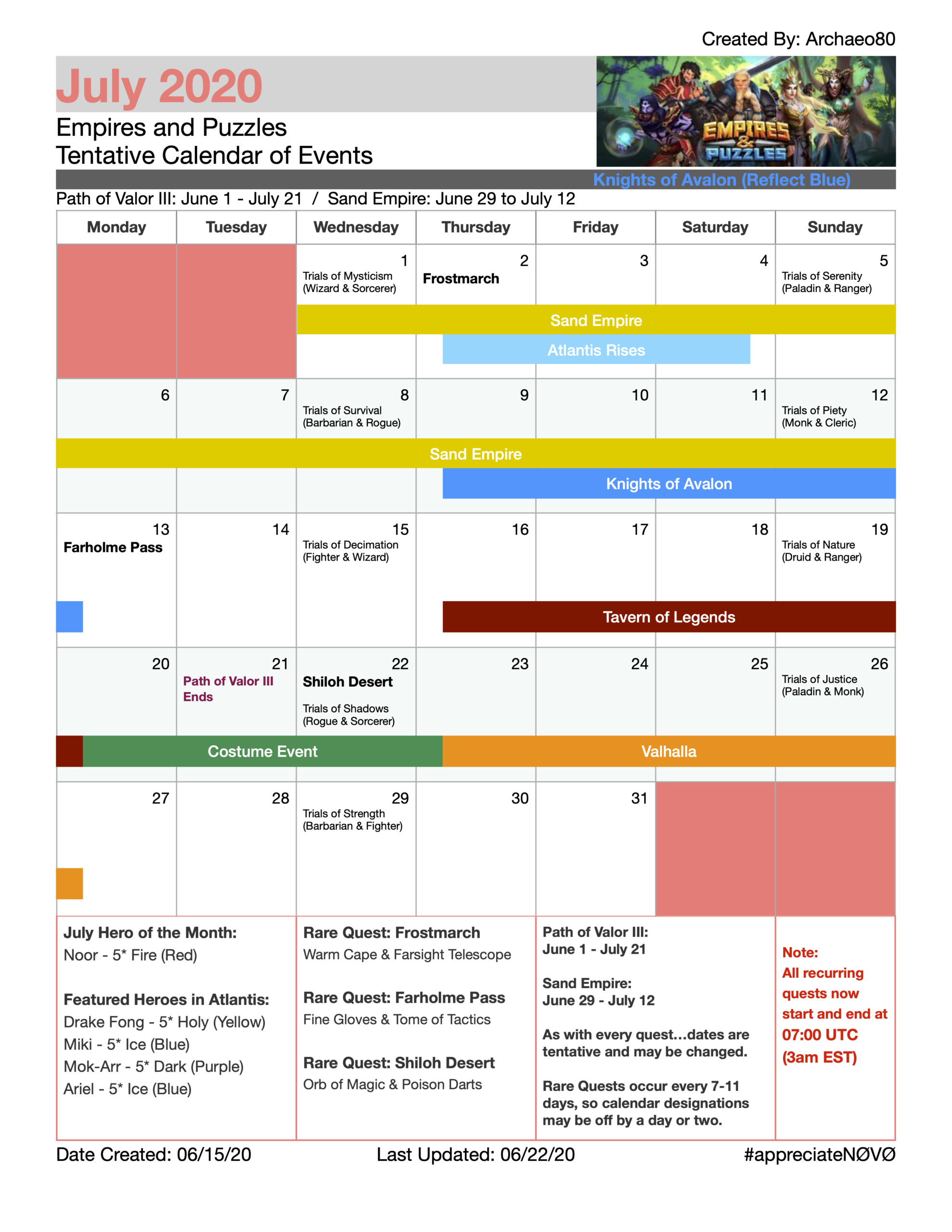 July 2020 Event And Quest Calendar For Empires & Puzzles in Empires And Puzzles Events Calendar 2021