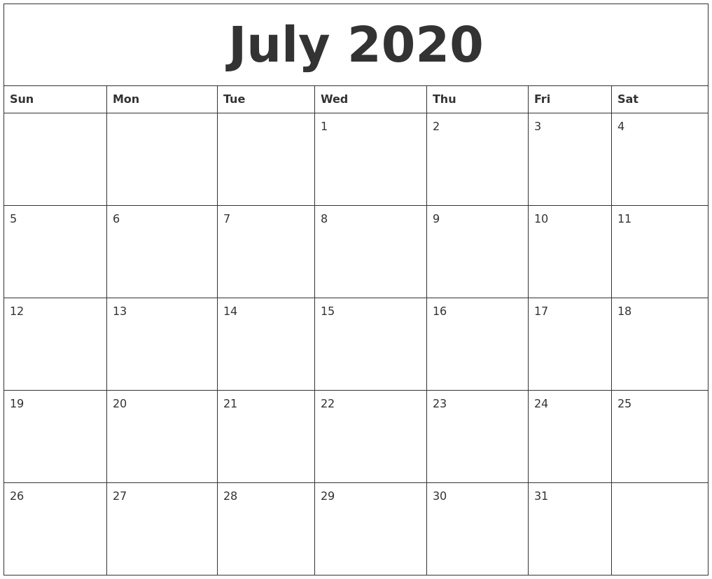 July 2020 Monthly Calendar Pdf | Monthly Calendar intended for Blank Monthly Calendar Portrait