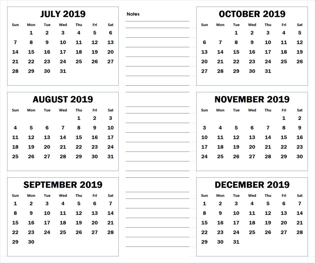 July To December 2019 Printable Calendar | 2019 Calendar pertaining to 6 Month Printable Calendar