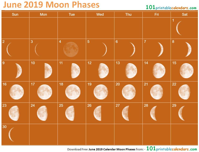 June 2019 Calendar Moon Phases | June 2019 Calendar, 2019 in Calendar 12 Moon Phases