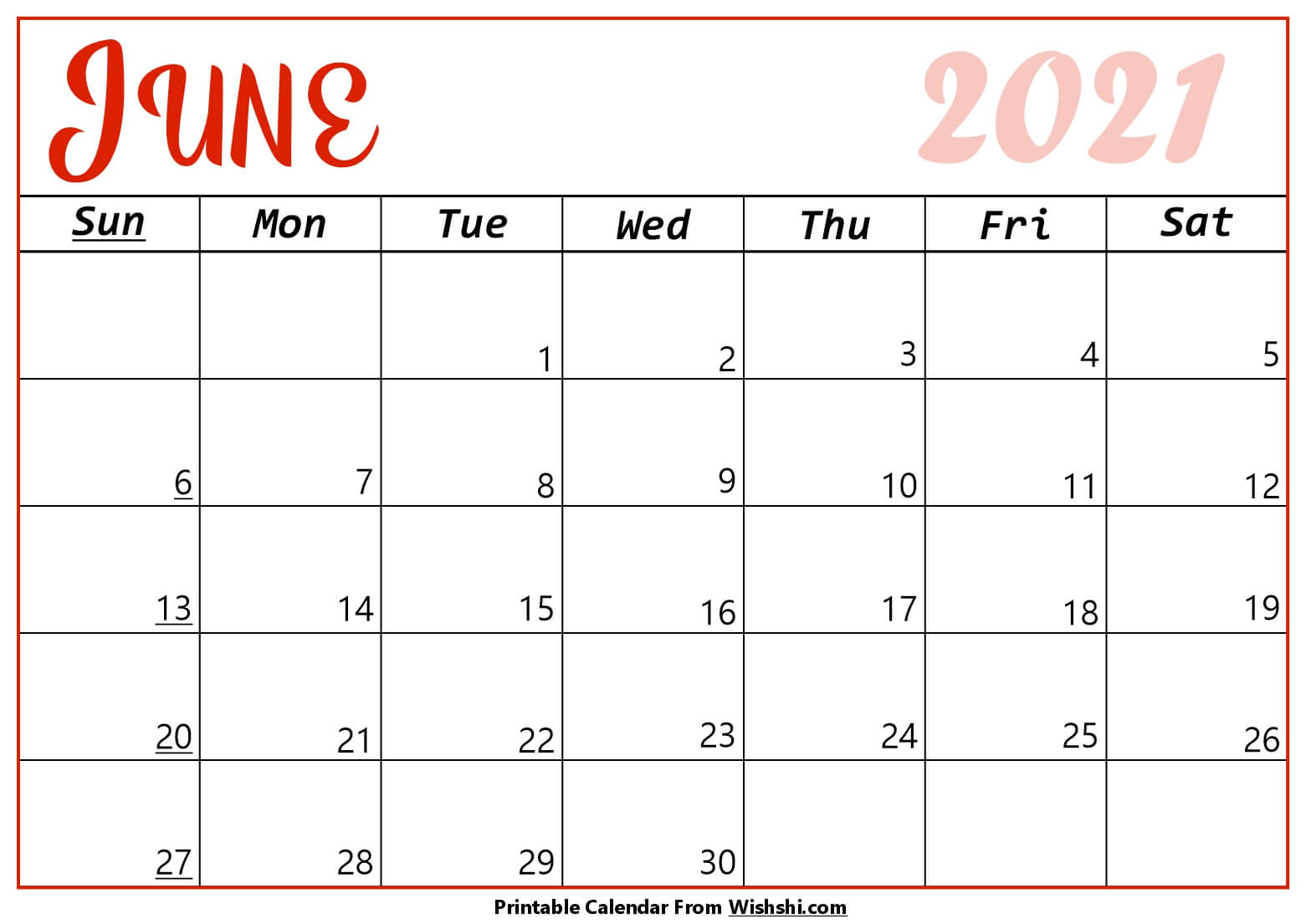 June 2021 Calendar Printable  Free Printable Calendars for 2021 Calendar Hong Kong Excel Format