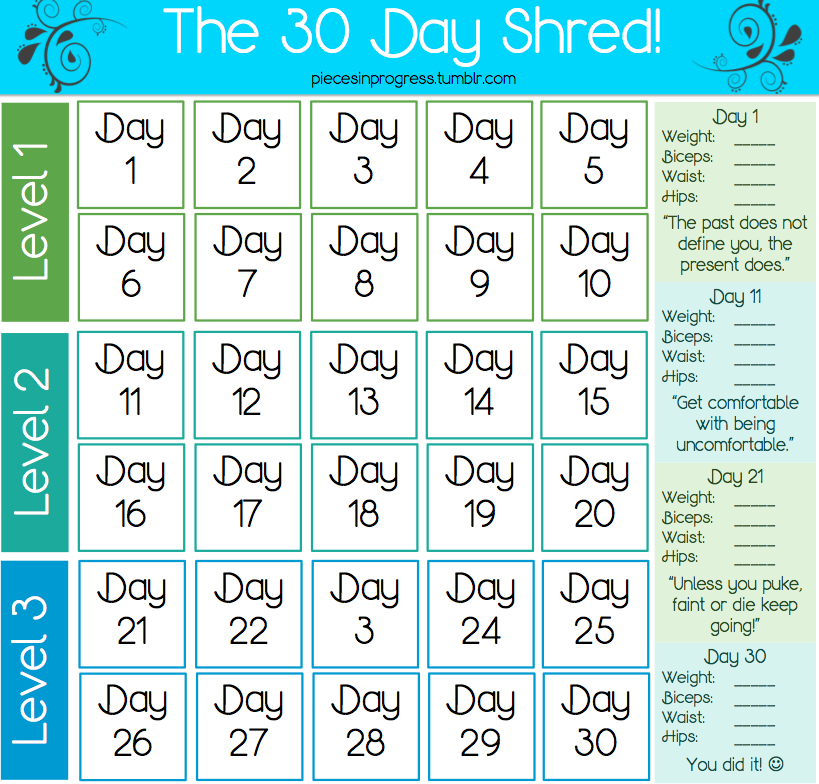 Just Yasmeen  30 Day Shred in 30 Day Calendar Template