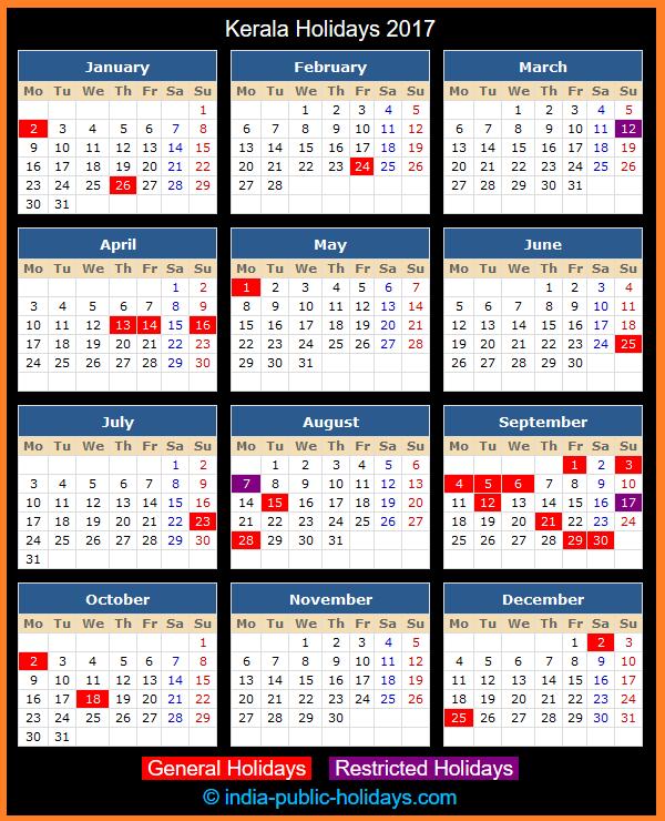 Kerala Holidays 2017 inside Kerala Govt Calender
