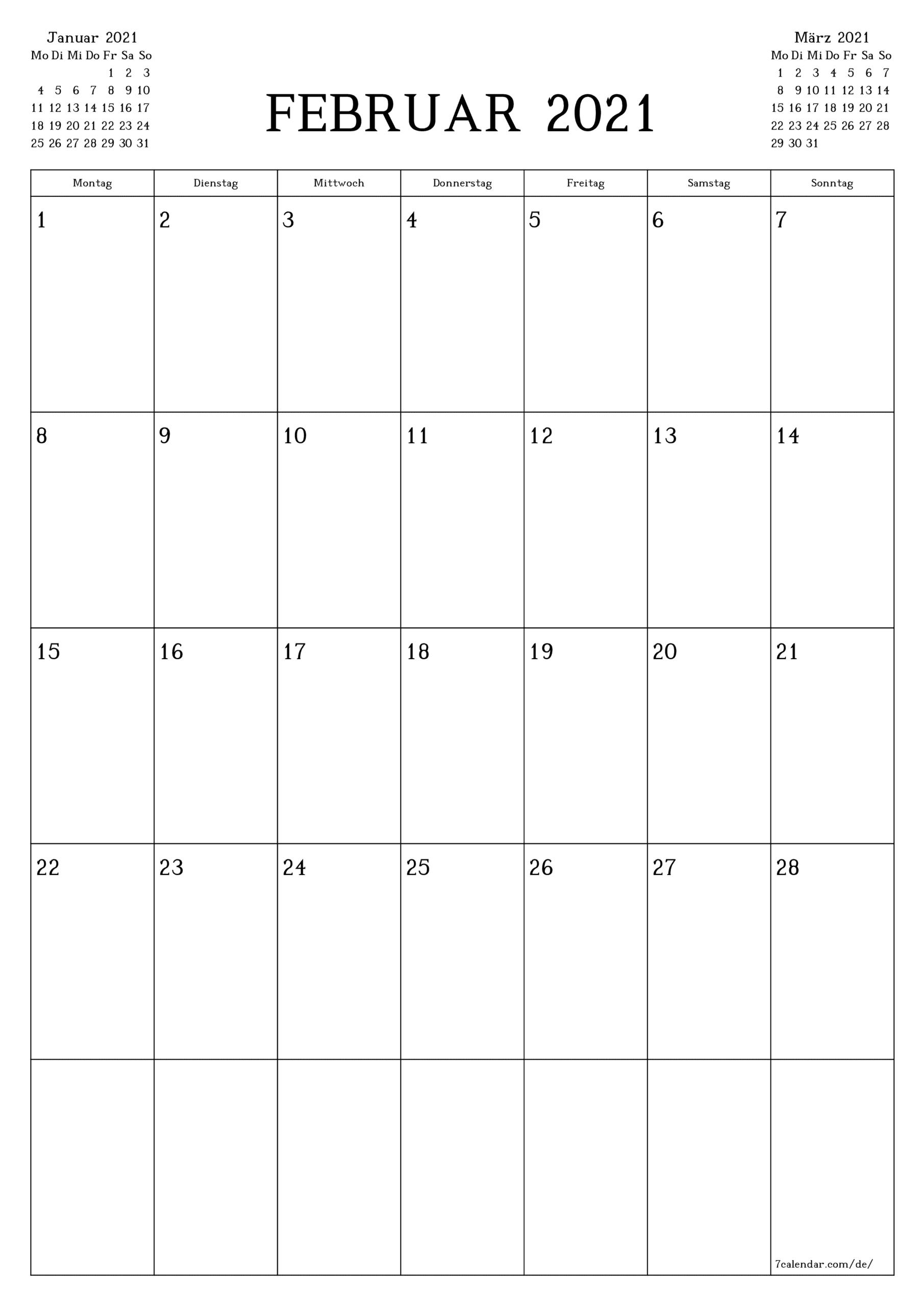 Kostenlose Druckbare Leere Monatskalender Und Planer Für for 3 Month Printed A3 Calendar 2021