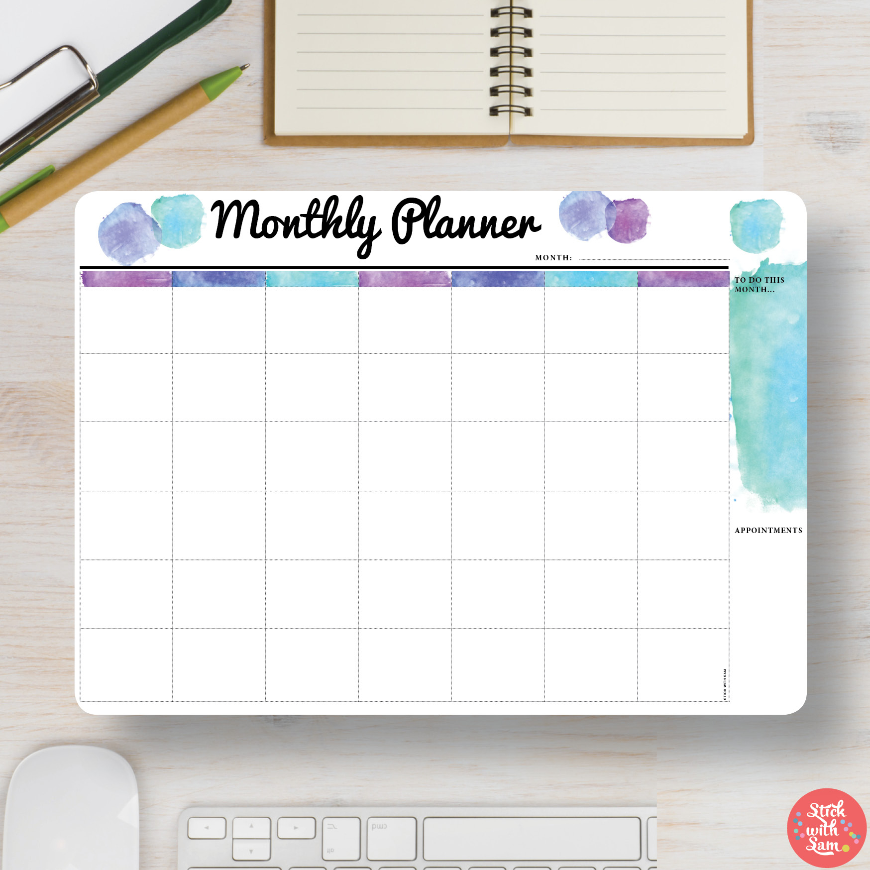 """Large Blue """"Monthly Planner"""" Magnetic Whiteboard pertaining to Printed Planner Whiteboards"""
