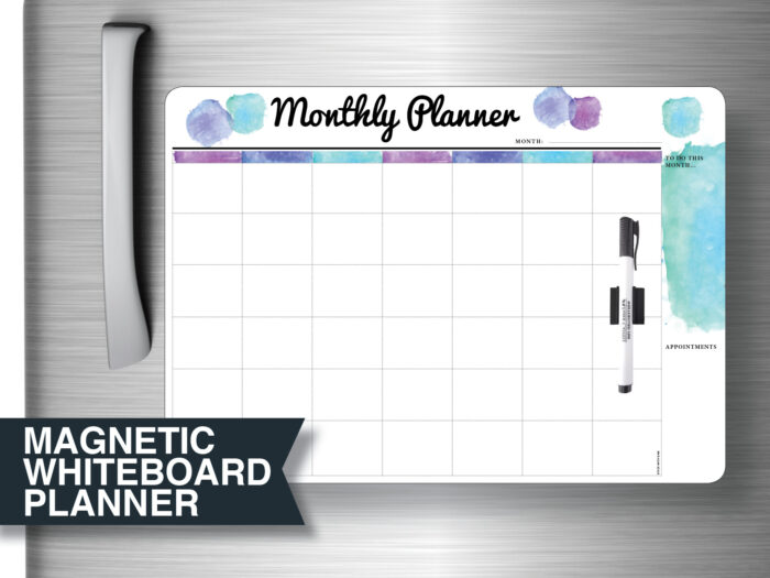 "Large Blue ""Monthly Planner"" Magnetic Whiteboard with Printed Planner Whiteboards"