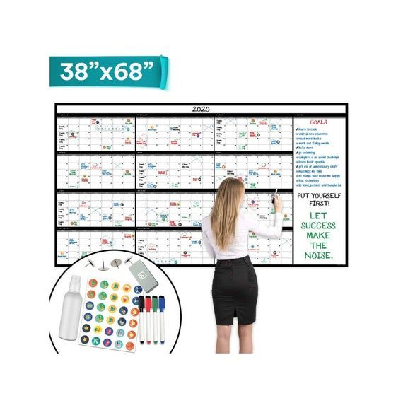 "Large Dry Erase Wall Calendar  38"" X 68""  Undated Blank throughout Blank Year At A Glance Calendar"