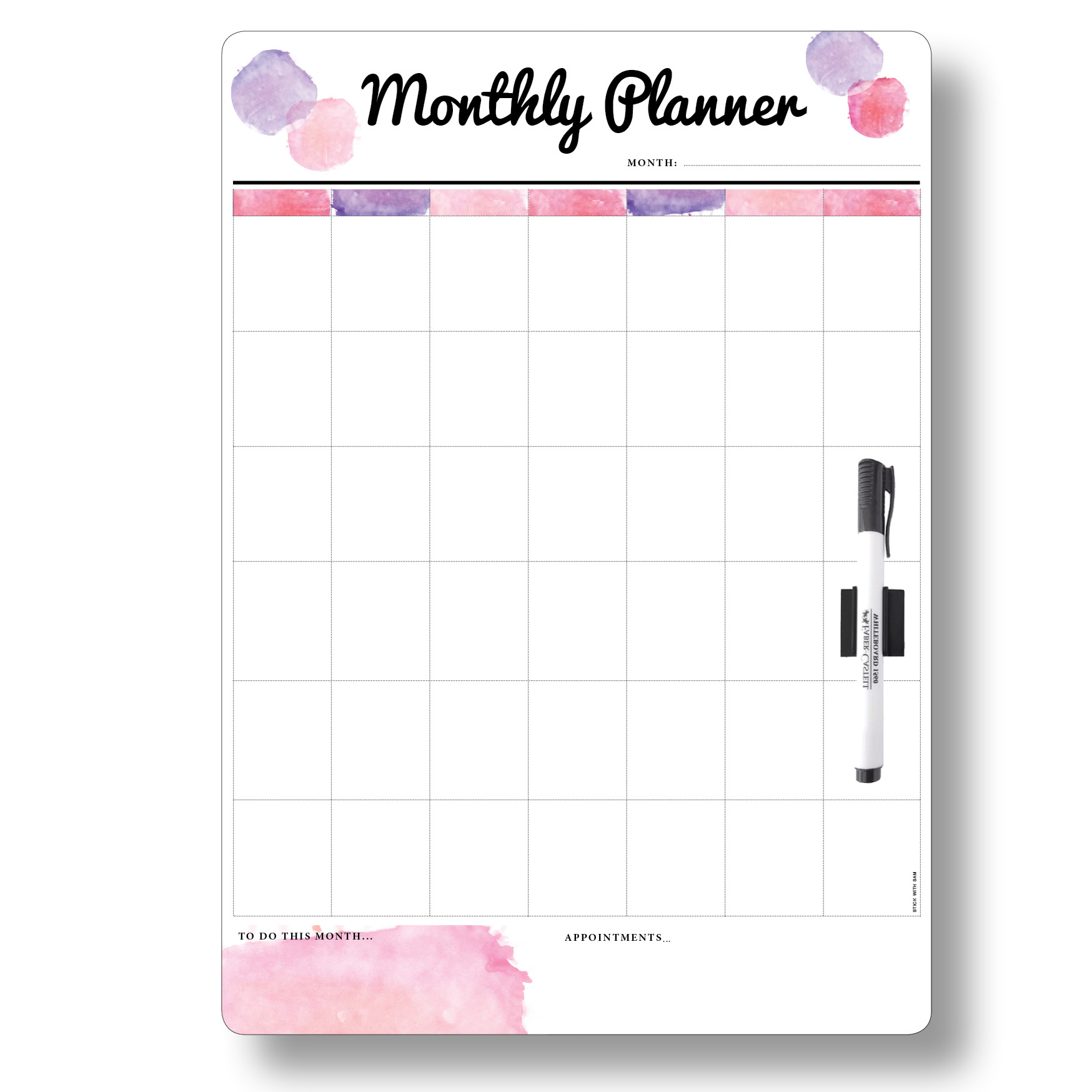 """Large Pink """"Monthly Planner"""" Magnetic Whiteboard with Printed Planner Whiteboards"""