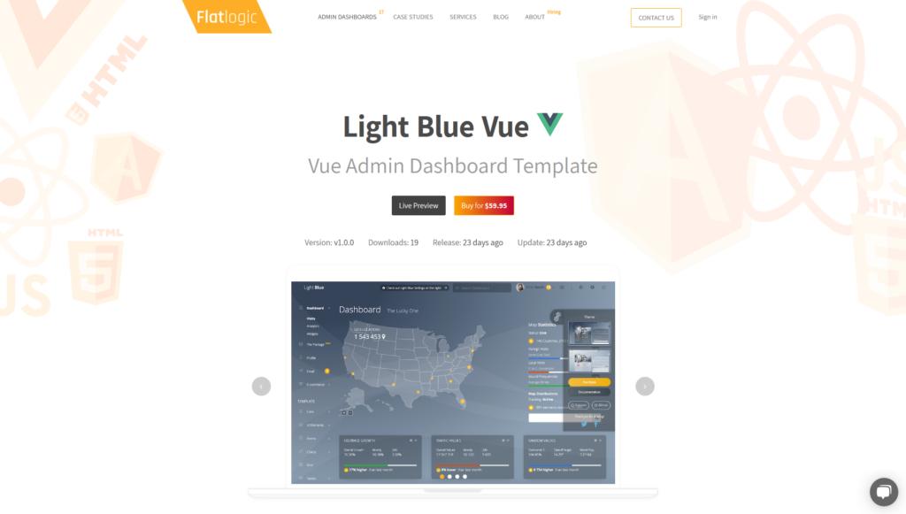 """Light Blue Vue Admin  Vue Js Dashboard Template Built with Dashkit €"""" Admin & Dashboard Template Dark/Light"""