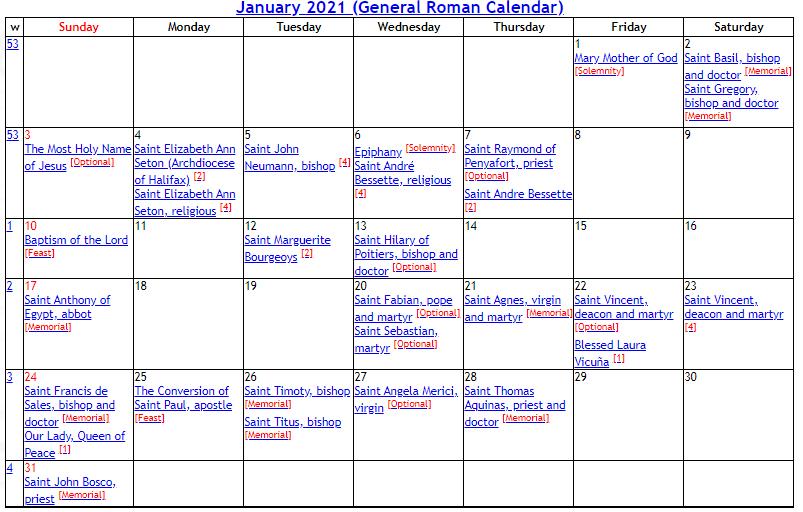 Liturgical Calendar 2021 | Roman Catholic Calendar 2021 pertaining to Printable Catholic Liturgical Calendar