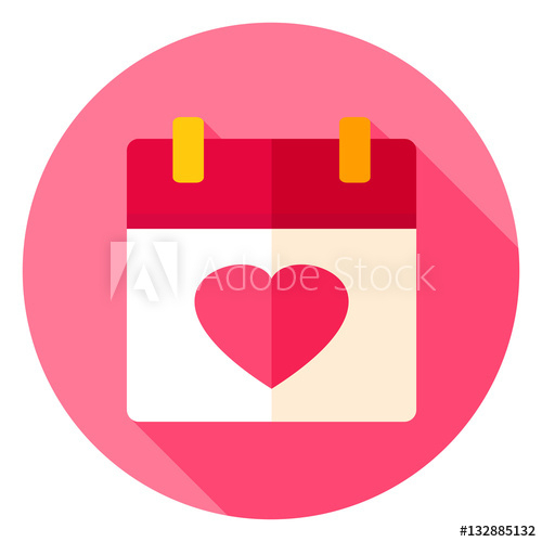 """Love Calendar Circle Icon"" Stock Image And Royaltyfree within Calendar Circle Icon"