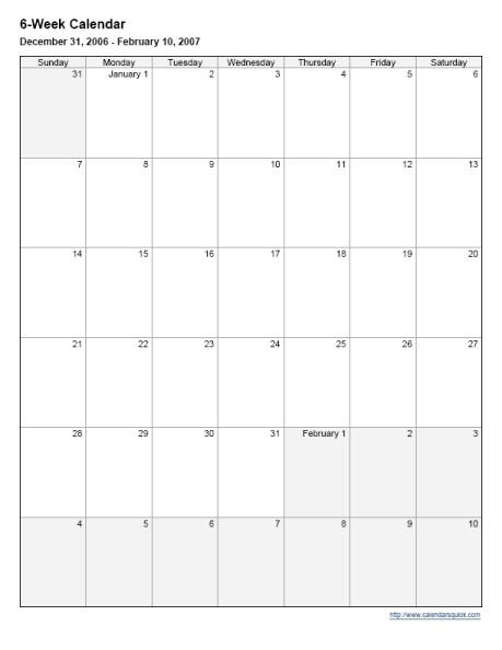 Lovely 6 Week Printable Calendar | Free Printable Calendar with 6 Month Printable Calendar