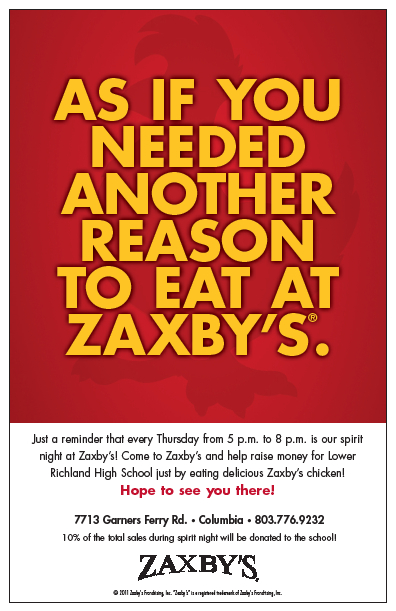 Lower Richland High School Ptsa: Zaxby'S Lr Spirit Night! with Richland 2 School Calendar