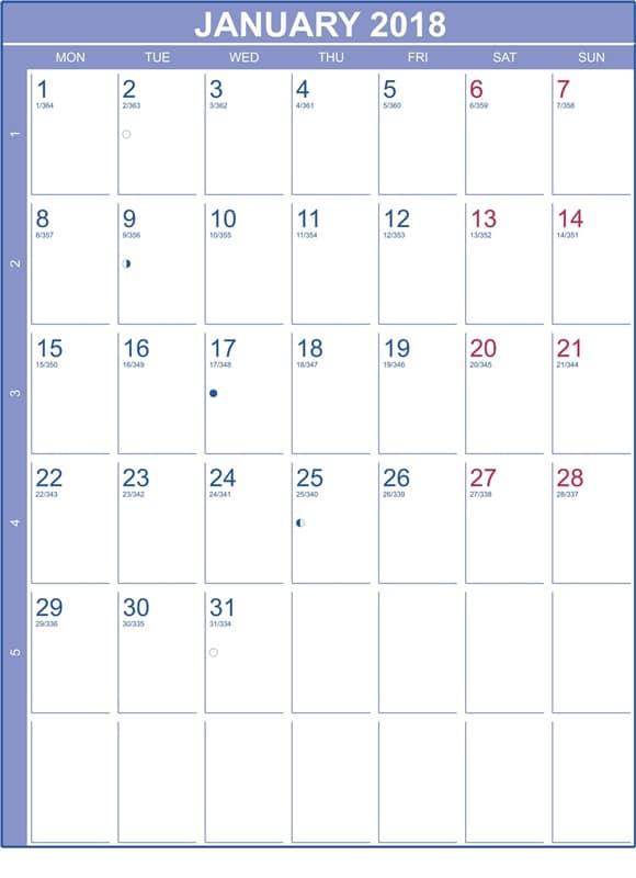 Lunar Calendar 2018 January  Oppidan Library throughout Lunar Calendar For Cockfighting 2018