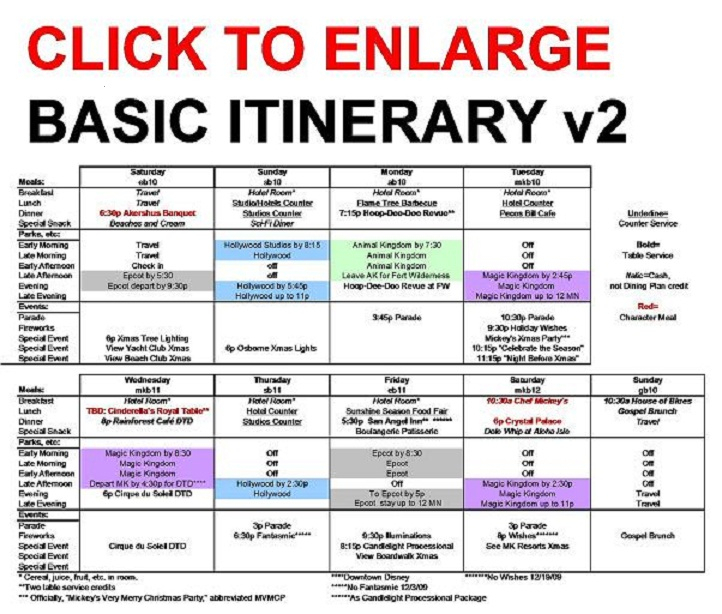 Mail And Comments: The Basic Walt Disney World Itinerary for Walt Disney World Itinerary Template