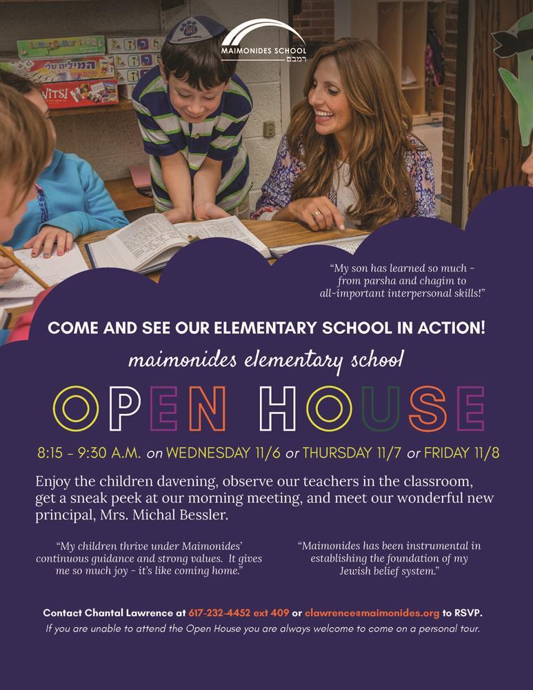 Maimonides School > Open House Set For November 6 8 pertaining to Brookline Ma School Calendar