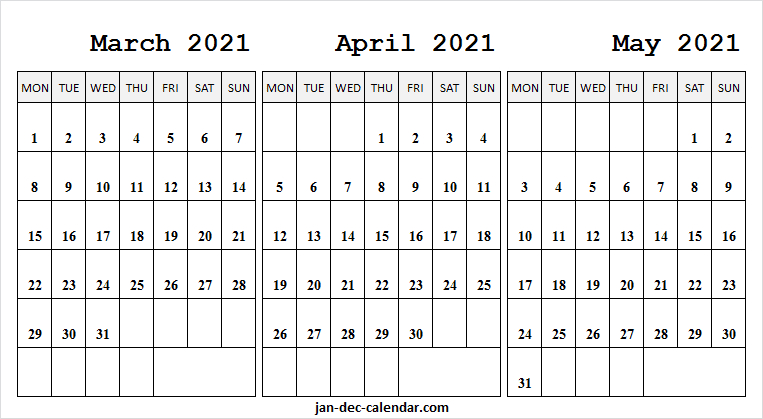 Mar To May Calendar 2021 Pages | Free Printable March 2021 regarding 3 Month Printable Calendar Templates 2021 Sept