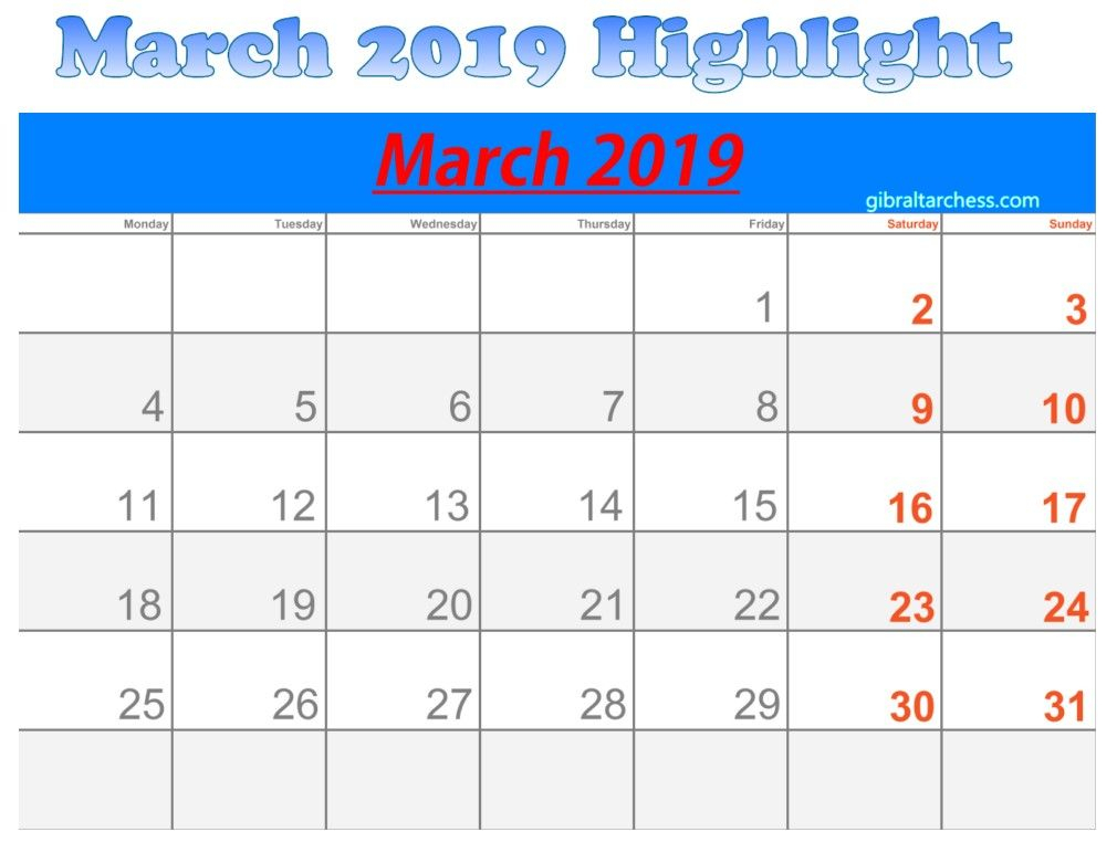 March 2019 Calendar Highlight Sunday Saturday 4 In 2019 within Calendar Sunday To Saturday