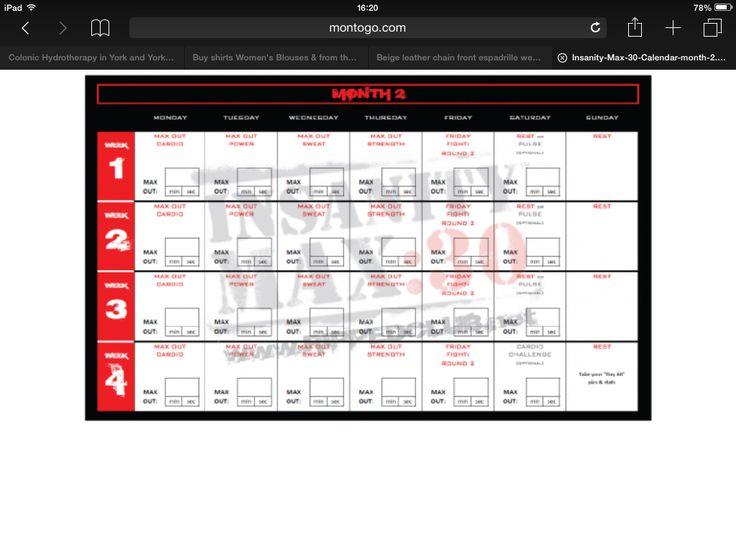 Max 30 Month 2 | Insanity Max, Insanity Max 30, Insanity in Printable Insanity Max 30 Calendar