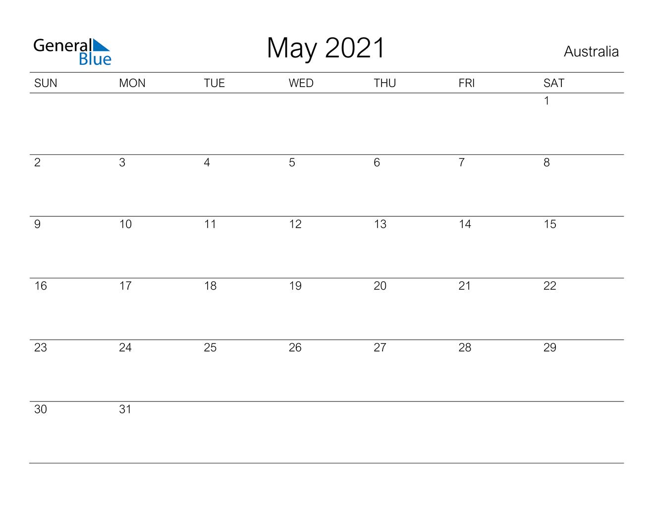 May 2021 Calendar  Australia with regard to Important Awarness Dates 2021 Australia