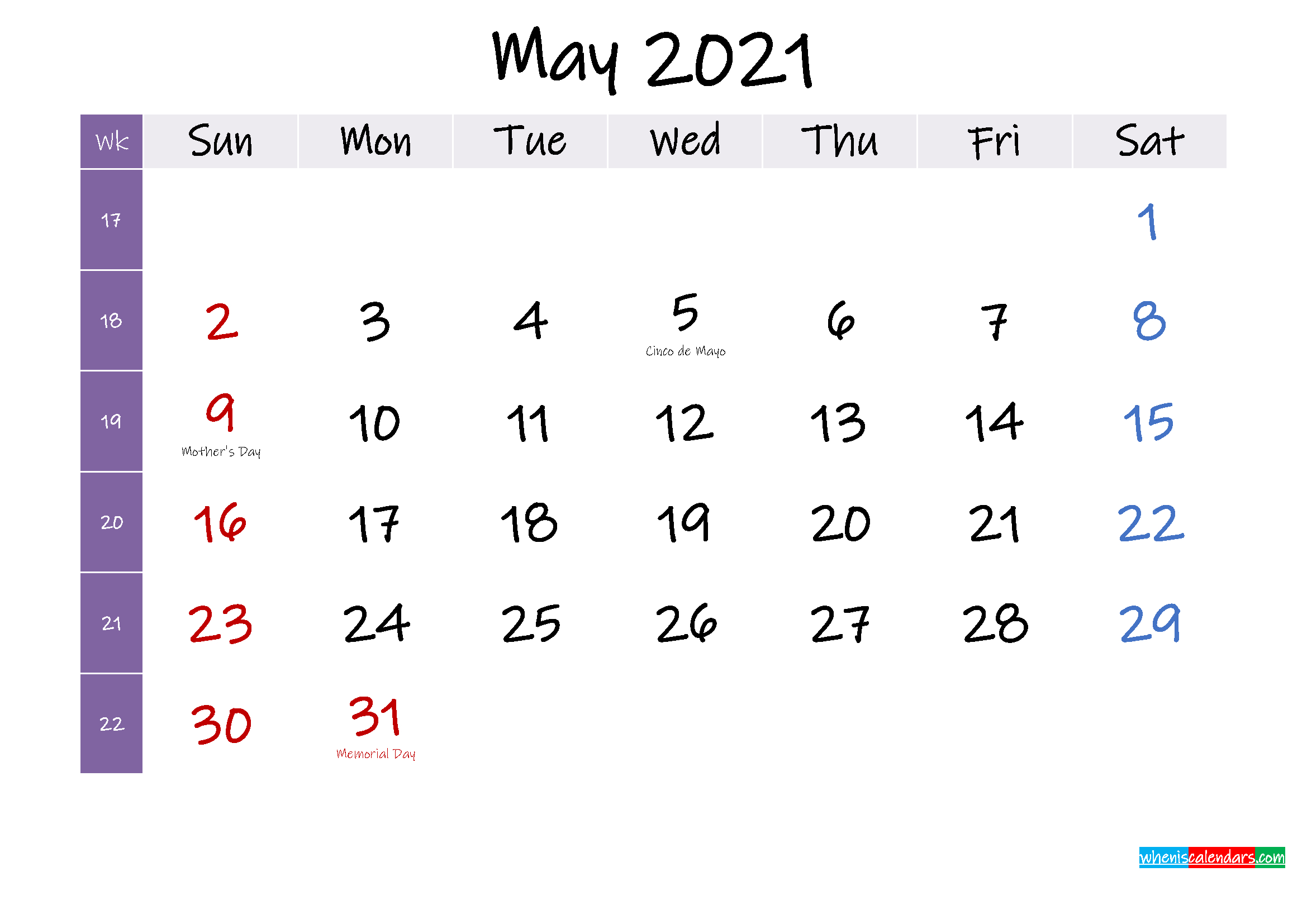 May 2021 Free Printable Calendar With Holidays  Template with Important Awarness Dates 2021 Australia