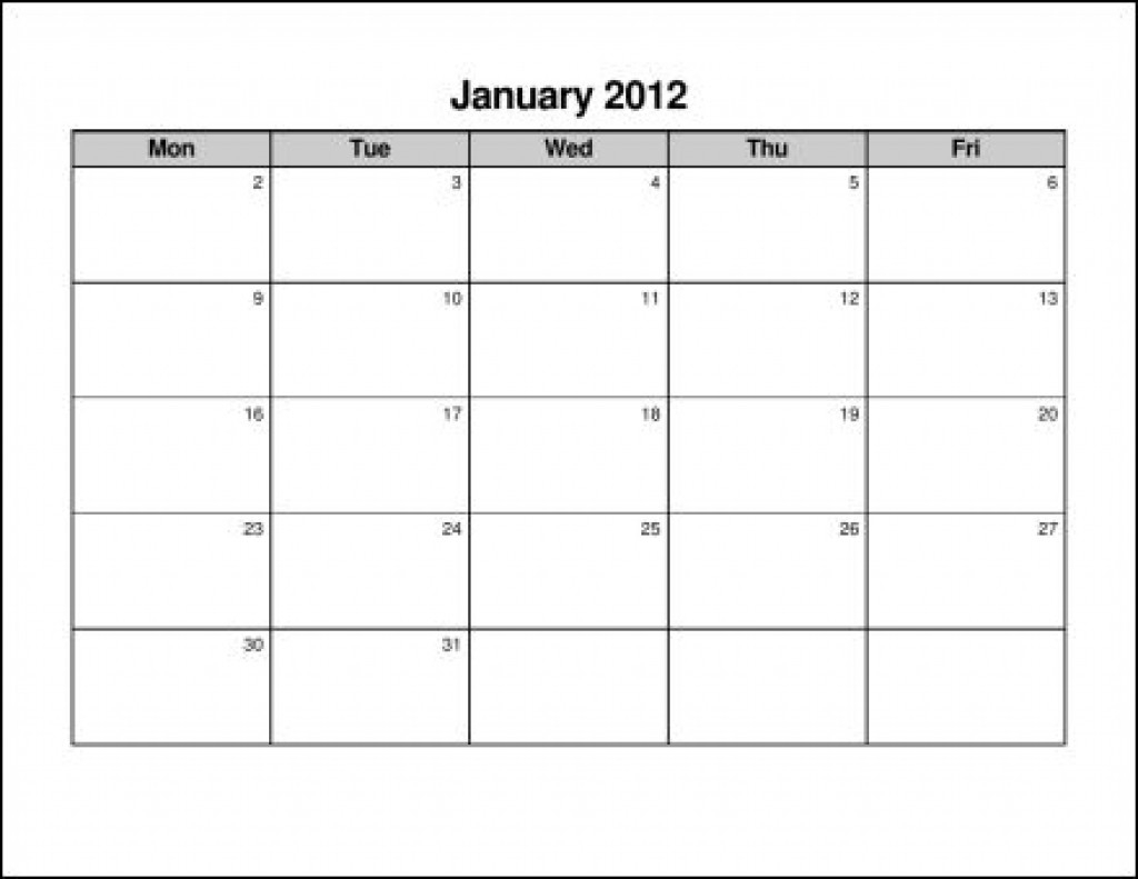 Monday Friday Calendar Template Printable | Calendar with Printable Monday Through Friday Calendar