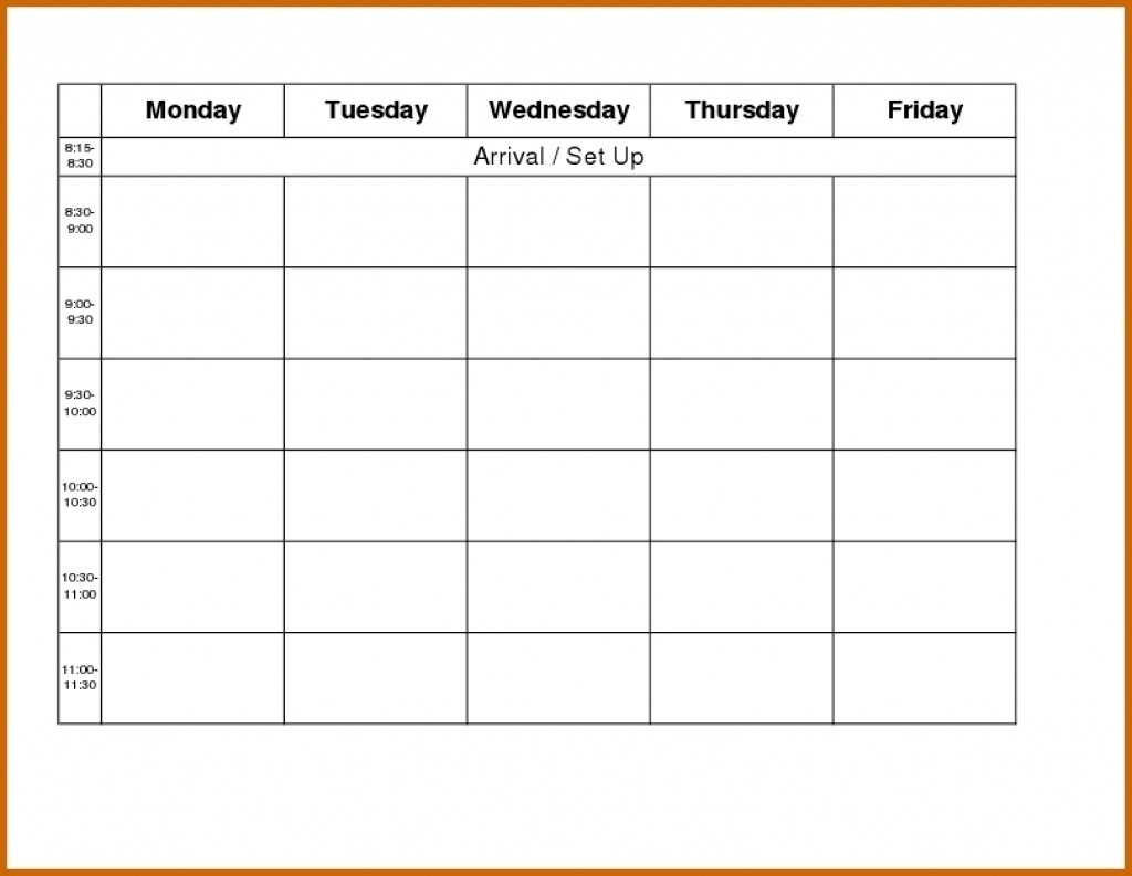 Monday Through Friday Calendar Template  Template for Sunday To Saturday Week Calendar