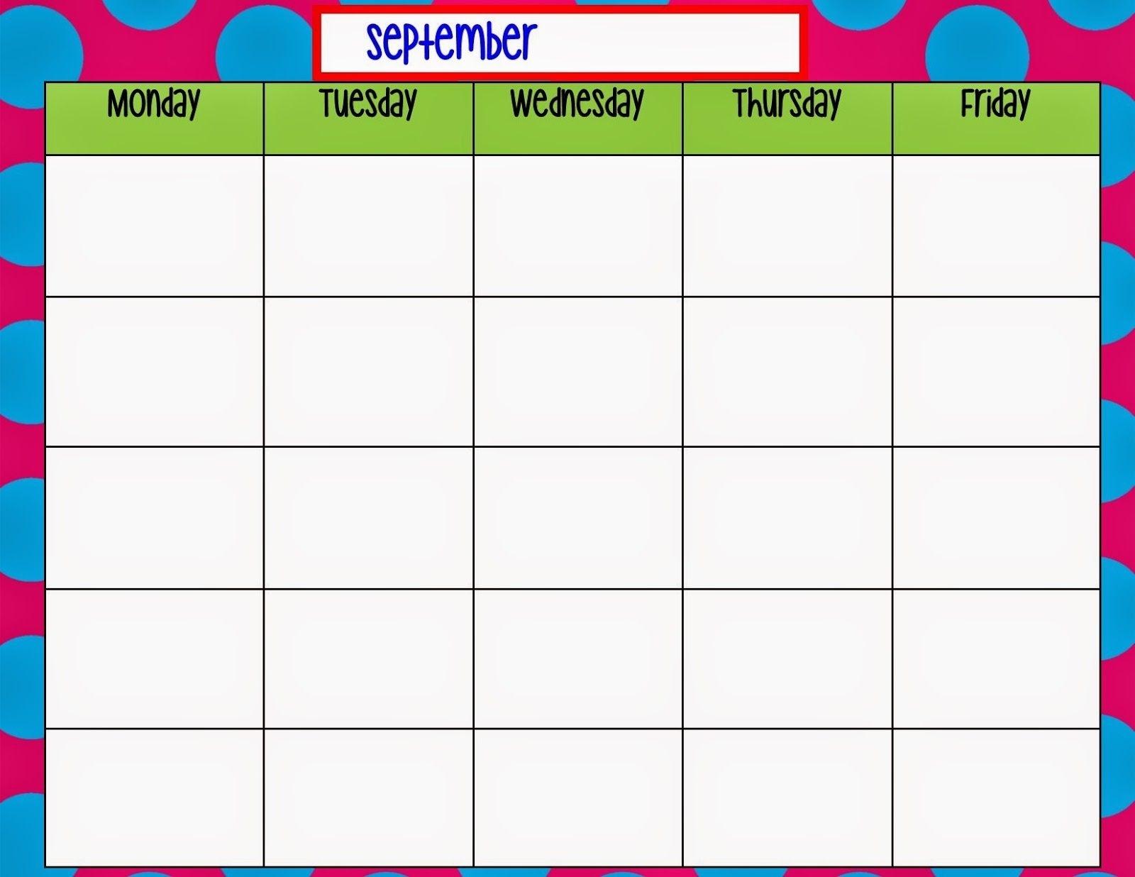 Monday Through Friday Weekly Calendar  Calendar in Printable Monday Through Friday Calendar