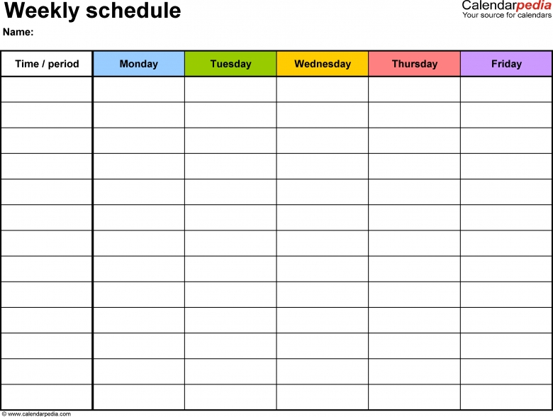Monthly 5 Day Calendar Template Excel :Free Calendar Template with Excel Day Planner