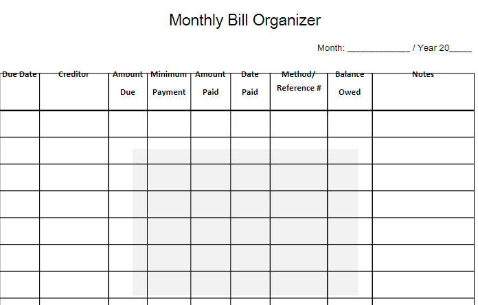 Monthly Bill Organizer | Free Word Templates intended for Bill Organizer Printable Free