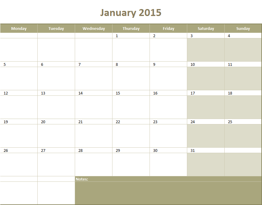 Monthly Calendar  Excel Templates For Every Purpose within Excel Quarterly Calendar Template