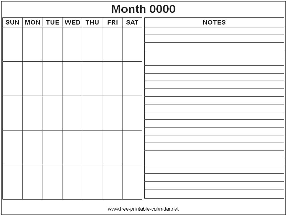 Monthly Calendar Notes  Calendar Printable Week inside 4 Month Printable Calendar
