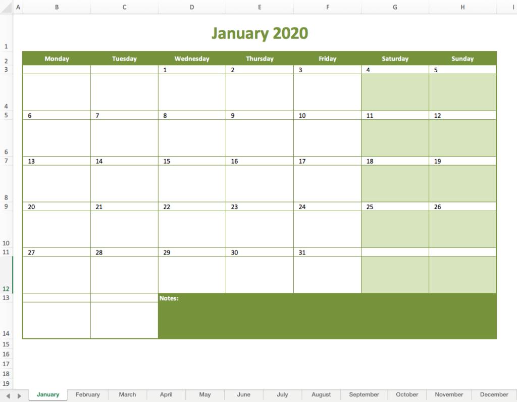 Monthly Calendar pertaining to Excel Quarterly Calendar Template