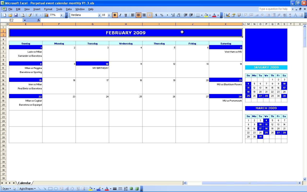 Monthly Event Calendar Template inside Quarterly Calendar Excel