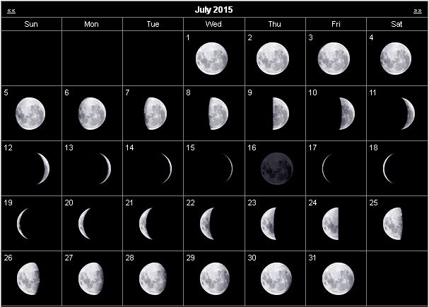 Monthly Stargazing Calendar For July 2015  Cosmobc for Calendar 12 Moon Phases