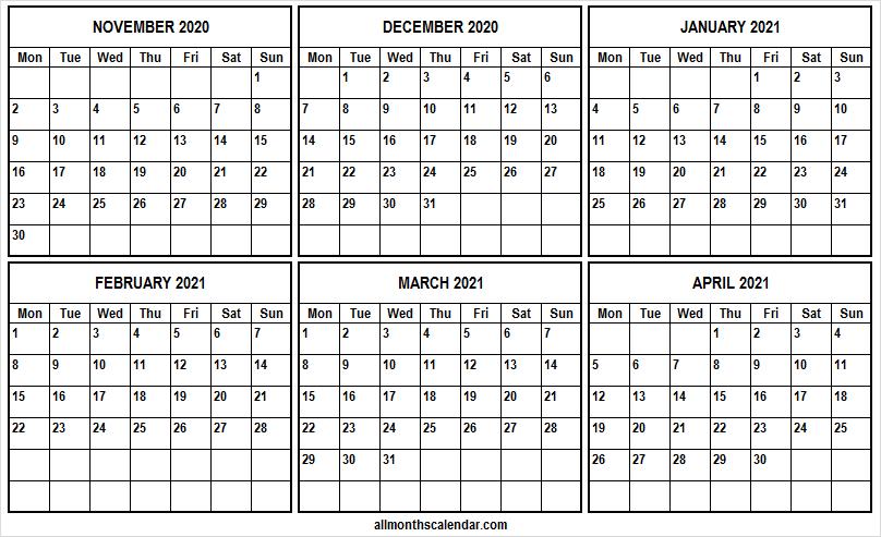 November 2020 To April 2021 Calendar Template  Six Month throughout 3 Month Printable Calendar Templates 2021 Sept