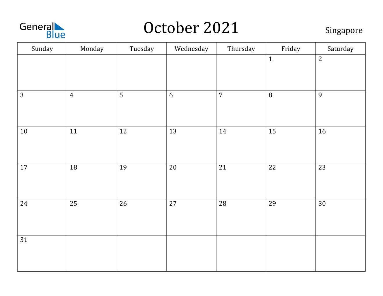 October 2021 Calendar  Singapore with regard to Important Awarness Dates 2021 Australia