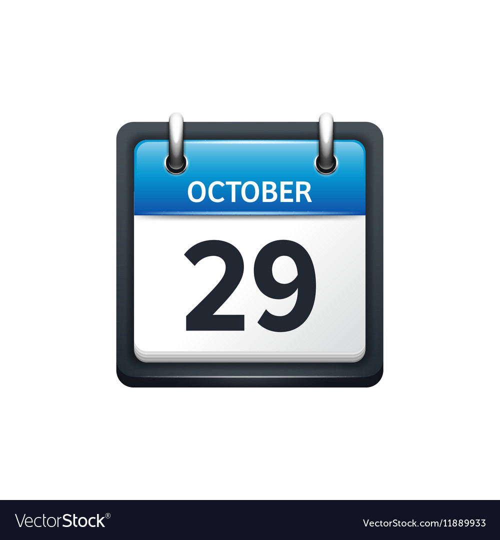 October 29 Calendar Icon Flat Royalty Free Vector Image with Google Calendar Icon Vector