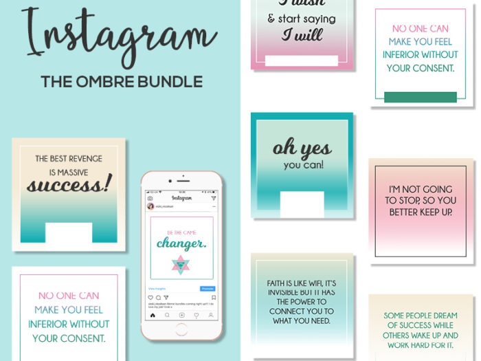 Ombre Instant Instagram & Social Media Posts  Vicki intended for Blank Instagram Template 2018