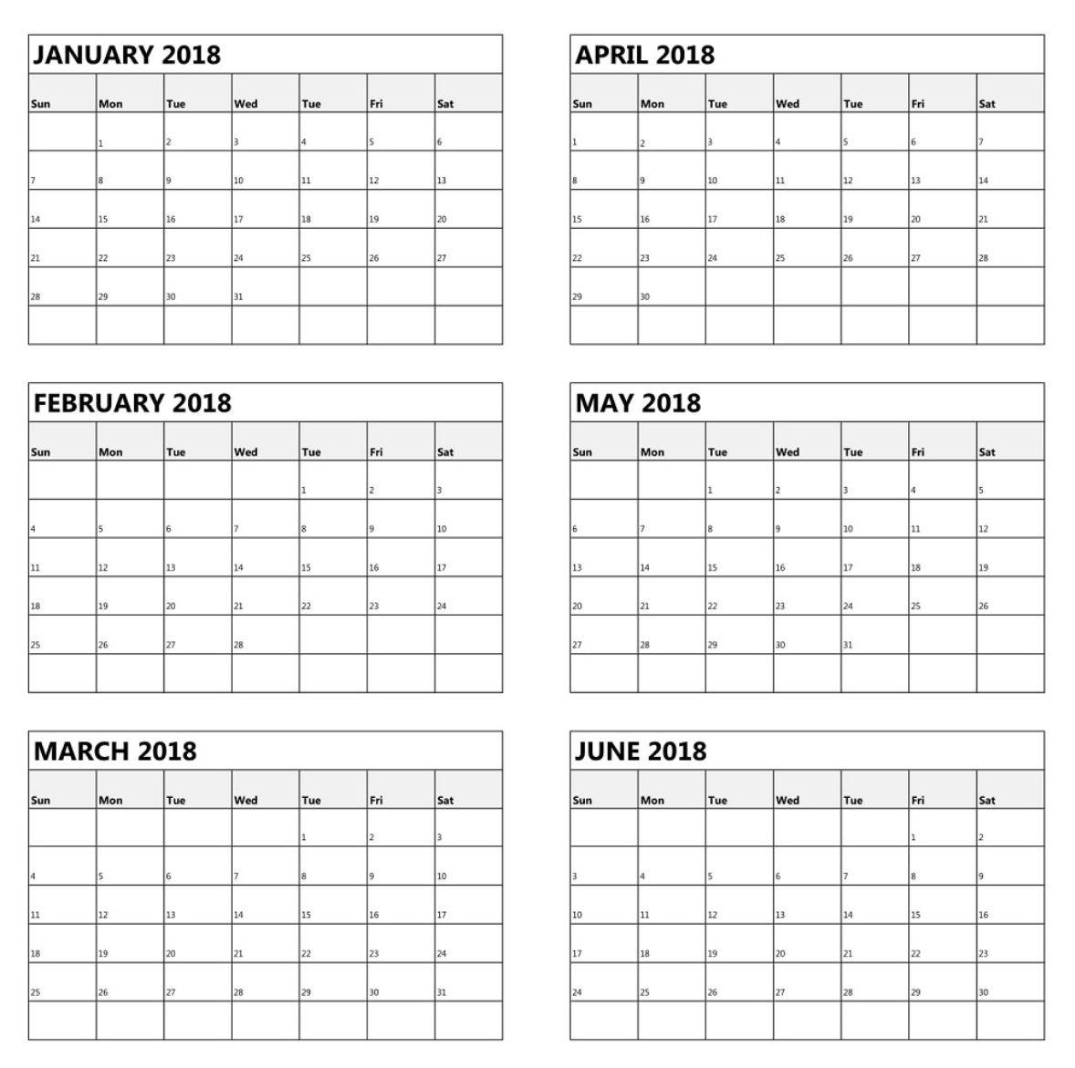 One Page 6 Month Calendar 2018 | June 2019 Calendar, July intended for 6 Month Printable Calendar