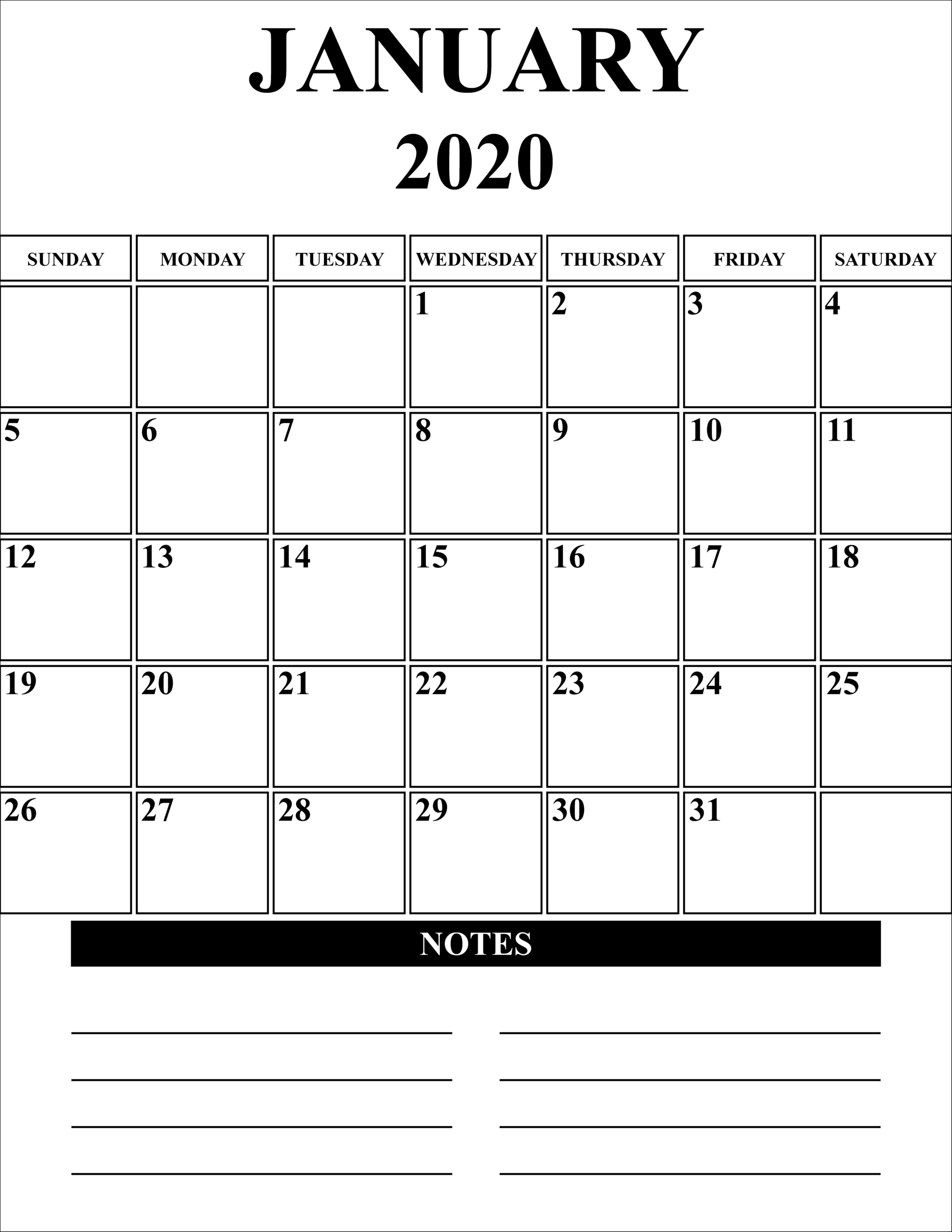 Outlook 2020 Calendar Printable | Example Calendar Printable throughout Blank Monthly Calendar Portrait
