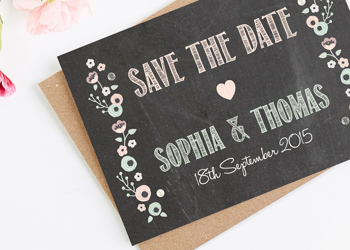 Pastel Floral Chalkboard Folded Save The Date (With with regard to Please Save The Date In Your Calendar
