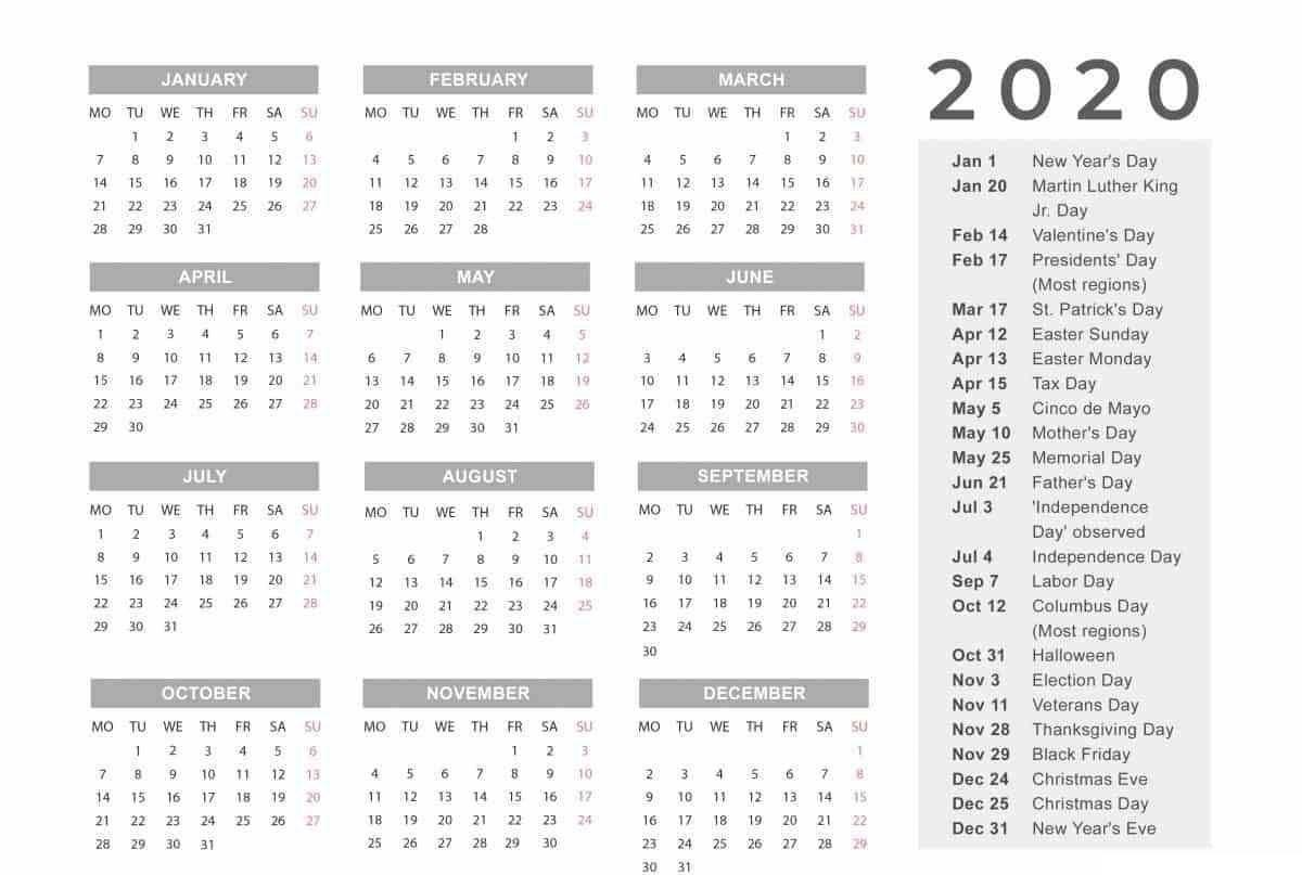 Payroll Calendar Template 2020 | Calendar Template Printable throughout Calendar Template 12 Months One Page